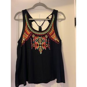 Black and multicolor embroidered tank top